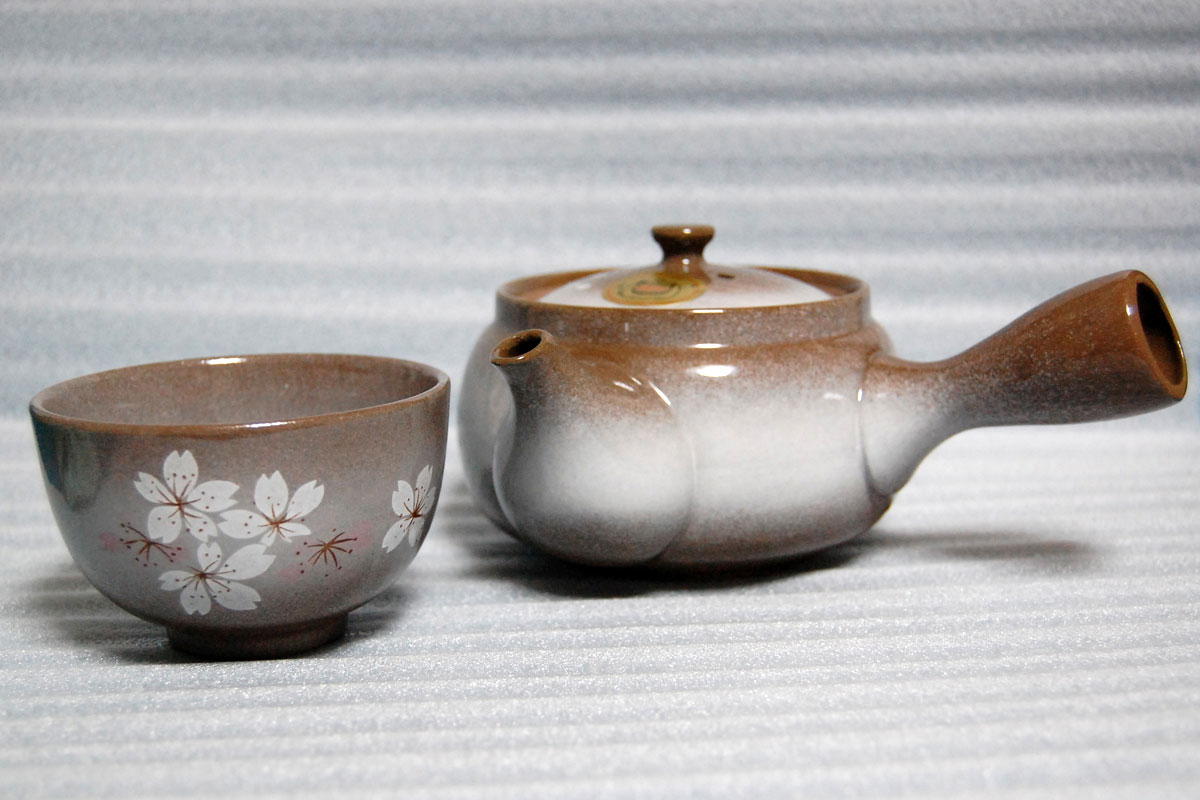 Japanese Heian Sakura Brown Tea Pot Set with 1 cup 36123